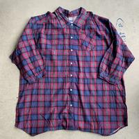 Over size Check shirt RED