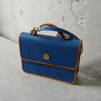 Old LANCEL 2Way Leather Bag BLU