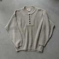 80s~ Eddie Bauer Henry Neck Cotton Knit Pullover
