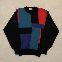 vintage block design knit tops
