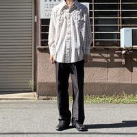 70s floral pattern shirt WHT