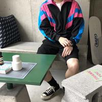 90s~ Bocoo Half Zip Nylon Jacket BLK