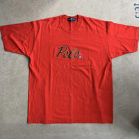 90s ~Polo Embroidery tee  RED