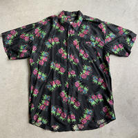 90s Psychedelic pattern Silk shirt BLK