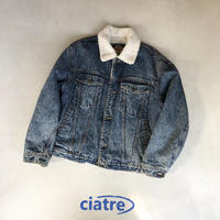 90s EXPRESS big silhouette denim boa jakcet