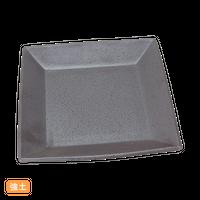 (強)黒南蛮 20.5㎝スクエア-皿(中)    く09-058-34 寸法:20.5×20.5×2.5H㎝ 700g