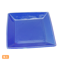 (強)黒土青釉 20.5㎝スクエア-皿(中)    く09-058-37 寸法:20.5×20.5×2.5H㎝ 700g