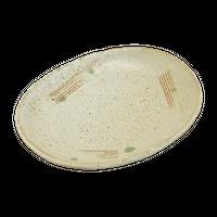 白唐津 6.0小判皿    く09-080-12 寸法:17×13.5×2H㎝ 280g