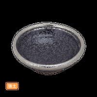 (強)黒ちらし渕銀巻 2.8丸浅鉢    く09-088-14 寸法:8φ×2.5H㎝ 70g