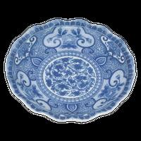 間取牡丹 波形5.0皿    く09-076-31 寸法:φ16.5×3H㎝ 270g