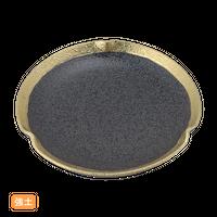 (強)黒ちらし渕金巻 7.0三つ押丸皿    く09-065-02 寸法:21φ×3.5H㎝ 560g