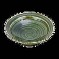 深緑(リム付)6.0高台丸皿    く09-069-30 寸法:18.5φ×5H㎝ 400g