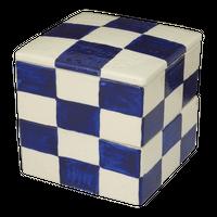 青市松二段重(小)    く09-135-11 寸法:11.5×11.5×12Hcm 1090g