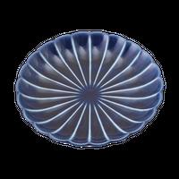 ぎやまん茄子紺BLUE 4.0皿    く09-084-01 寸法:12.2φ×2H㎝ 120g