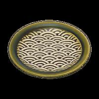 織部青海波 4.0皿    く09-079-28 寸法:12.5φ×1.8H㎝ 150g