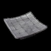 炭化土市松 正角6.0高台皿    く09-008-19 寸法:17×17×6H㎝ 580g