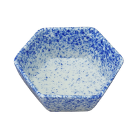 青吹き 六角小鉢    く09-033-14 寸法:10.2φ×3.7H㎝ 110g