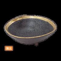 (強)黒ちらし渕金巻 5.0片押浅鉢    く09-002-13 寸法:15×13×5.5H㎝ 240g