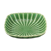 かすみ 緑 12cm丸角皿    く09-034-10 寸法:12φ×2.5H㎝ 110g