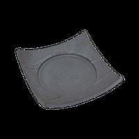いぶし黒(砂目)6.0四方皿    く09-059-27 寸法:17×17×3.5H㎝ 460g