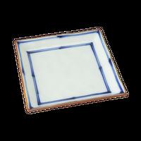 渕錆二本筋 10.5㎝角皿    く09-081-44 寸法:10.5×10.5×2.3H㎝ 130g
