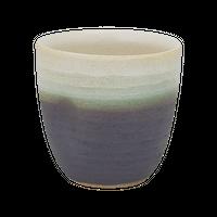 淡白黒(片押)焼酎カップ    く09-126-02 寸法:9.5×9×9H㎝ 350cc 200g