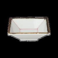 呉須線 角小付(赤線)    く09-133-36 寸法:7.2×7.2×2.5H㎝ 60g