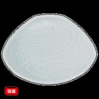 (強)青白磁(流水彫)6.0三角皿    く09-075-08 寸法:16.5φ×3H㎝ 320g