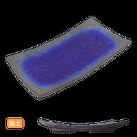 (強)伊賀るり釉(浜付)長角細大皿    く09-040-05 寸法:33.5×18×4H㎝ 940g