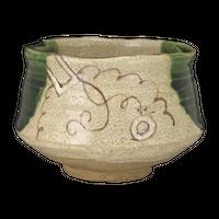 織部茶碗(春草作)(木箱)    く09-152-12 寸法:11φ×8H㎝ 300g