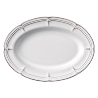 ラフィネ スモークホワイト 30.5cmオーバルプラター    496-15910046 寸法:30.5×22.1×2.9H㎝