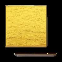 ゴールド 石肌正角20cm皿    く09-058-07 寸法:21.5×21.5×1.2H㎝ 640g