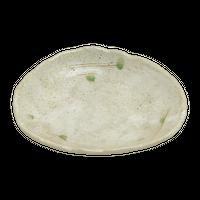 白唐津 7.0変形刺身鉢    く09-010-23 寸法:21×16.5×3.5H㎝ 380g