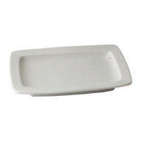志野撫角型焼物皿(小)    く09-053-29 寸法:18.8×12.8×2.6H㎝ 360g