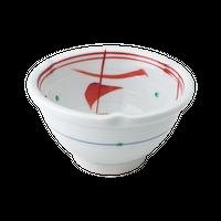 内赤絵 3.0三輪花形丼    く09-024-04 寸法:9.5φ×6H㎝ 170g