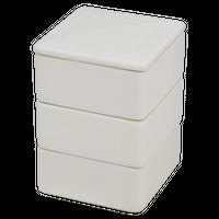 ニューボン乳白 角形三段重(小)    く09-135-19 寸法:7×7×10.5H㎝ 600g