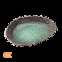 (強)新緑ビ-ドロ 7.0変形刺身鉢    く09-010-04 寸法:20×16×3.5H㎝ 300g