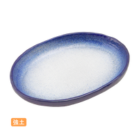 (強)渕るり内白吹 6.0小判皿    く09-080-02 寸法:17.5×12×2.5H㎝ 300g