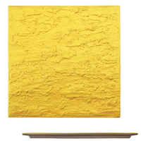 ゴールド 石肌正角27cm皿    く09-058-05 寸法:27×27×1.2H㎝ 1200g