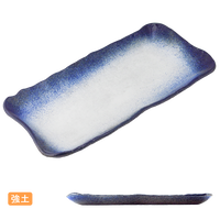 (強)渕るり内白吹 長角かに盛皿    く09-039-03 寸法:44×22×2.5H㎝ 1600g