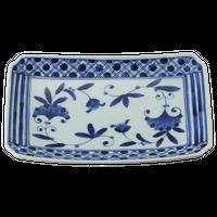 濃格子 RI焼物皿    く09-051-17 寸法:21.5×13.5×3.5cm 400g