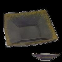 金彩天目 6.0高台正角皿    く09-059-07 寸法:18×18×5H㎝ 450g