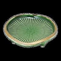 織部金釉 菊型四つ足鉢    く09-011-05 寸法:17.3φ×4Hcm 360g