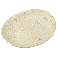 白唐津(クシメ)8.0楕円皿    く09-055-24 寸法:25×19×3.5H㎝ 540g