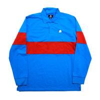 CHEVRON & STAR Flower POLO Shirt Blue