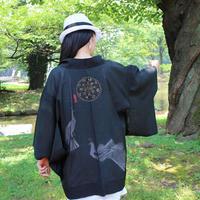 <TUTAE> Haori1018 (for summer)  black with peacocks
