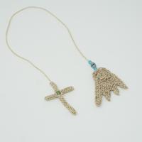 アイダミホコ 羽根とクロスのブックマークチャーム(ブルー・グリーン)