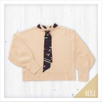 スカーフ付ミラノリブニットセーター【&Noel】[1380012]