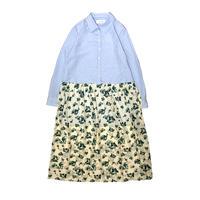 【ya-211011-1】layered shirt one-piece / stripe