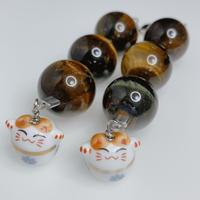 金運・開運! 招き猫と大玉タイガ―アイ3珠のストラップ